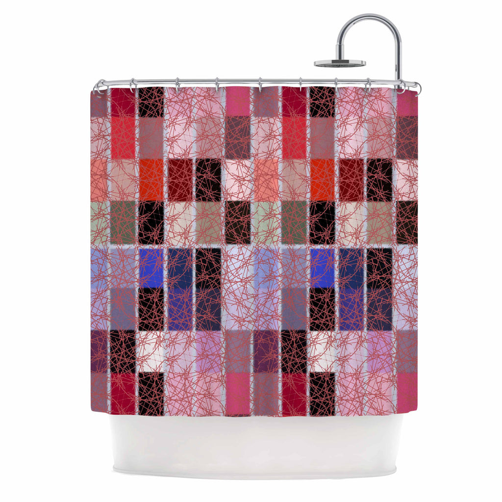 "Laura Nicholson ""Ruby Tiles"" Pink Red Shower Curtain - KESS InHouse"