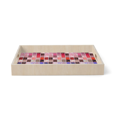 "Laura foster Nicholson ""ruby tiles"" Pink Red Birchwood Tray"