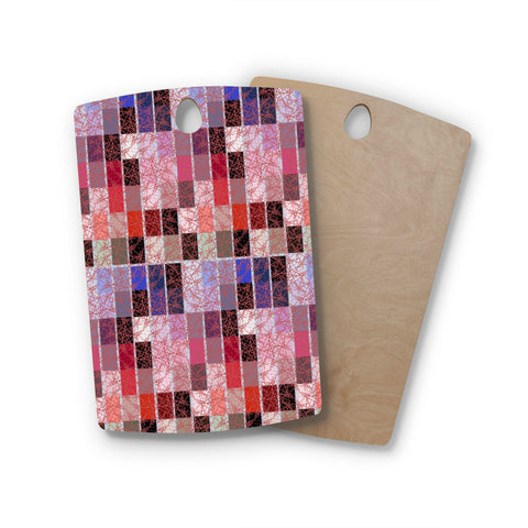 "Laura Nicholson ""Ruby Tiles"" Pink Red Rectangle Wooden Cutting Board"