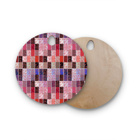 "Laura Nicholson ""Ruby Tiles"" Pink Red Round Wooden Cutting Board"