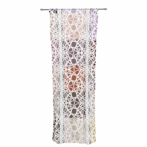 "Laura Nicholson ""Thatch Plaid"" White Multicolor Decorative Sheer Curtain - KESS InHouse  - 1"