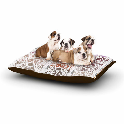 "Laura Nicholson ""Thatch Plaid"" White Multicolor Dog Bed - KESS InHouse  - 1"