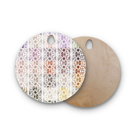 "Laura Nicholson ""Thatch Plaid"" White Multicolor Round Wooden Cutting Board"
