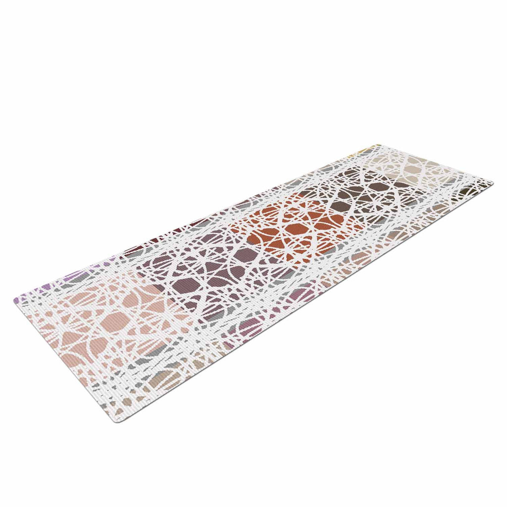 "Laura Nicholson ""Thatch Plaid"" White Multicolor Yoga Mat - KESS InHouse  - 1"
