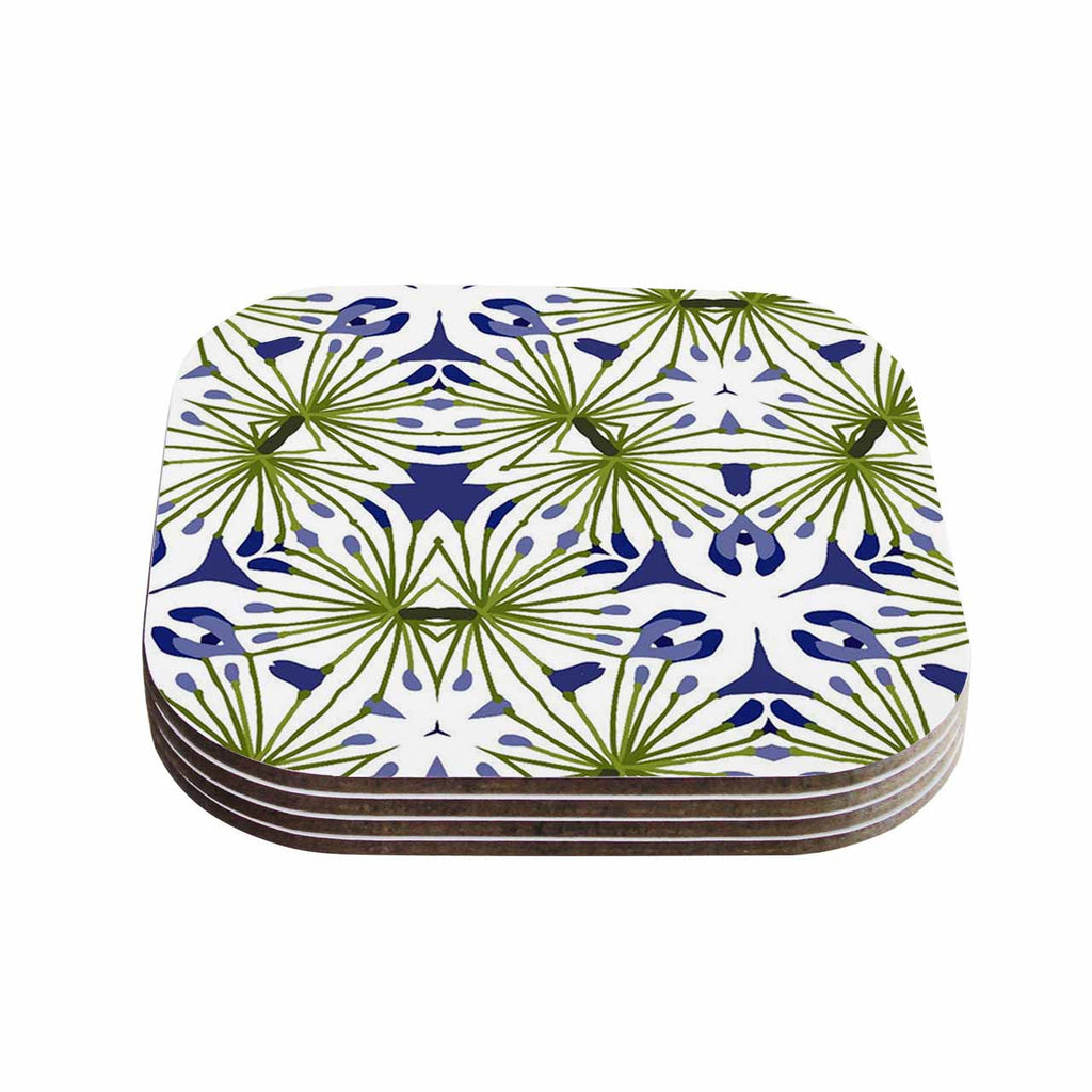 "Laura Nicholson ""Thalia"" Olive Floral Coasters (Set of 4)"