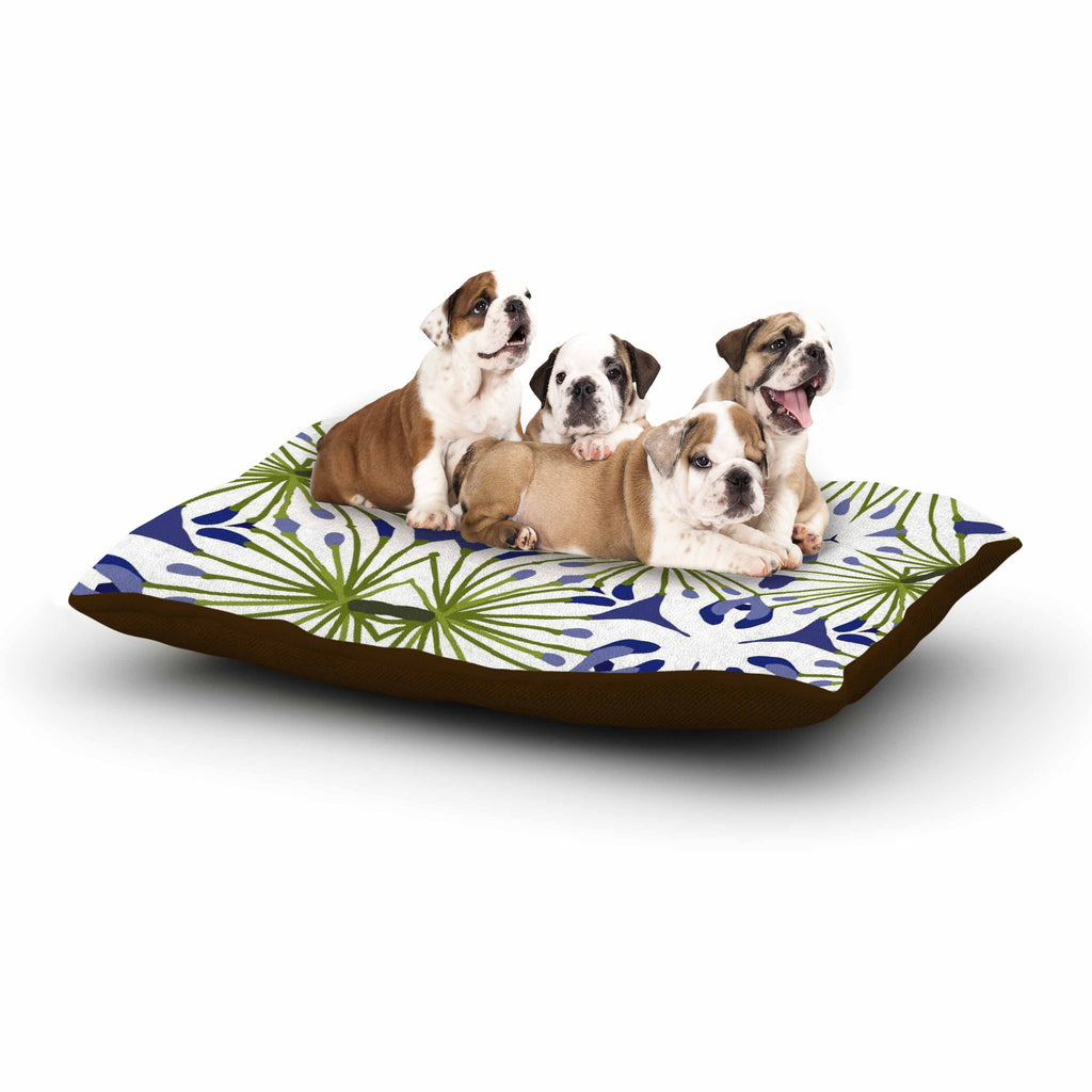 "Laura Nicholson ""Thalia"" Olive Floral Dog Bed - KESS InHouse  - 1"