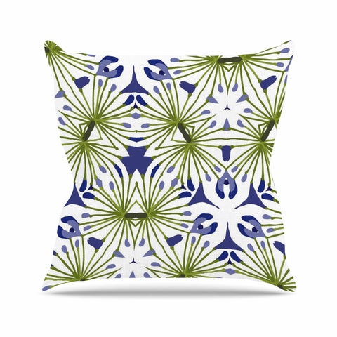 "Laura Nicholson ""Thalia"" Olive Floral Outdoor Throw Pillow - KESS InHouse  - 1"