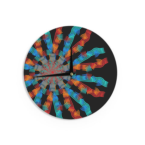 "Laura Nicholson ""Ribbon Ring"" Black Abstract Wall Clock - KESS InHouse"