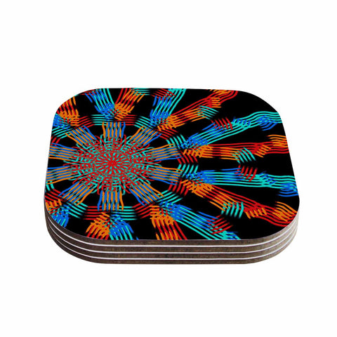 "Laura Nicholson ""Ribbon Ring"" Black Abstract Coasters (Set of 4)"