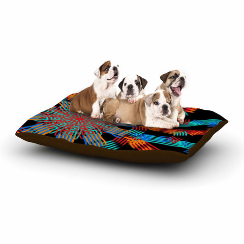 "Laura Nicholson ""Ribbon Ring"" Black Abstract Dog Bed - KESS InHouse  - 1"