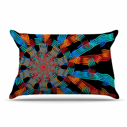 "Laura Nicholson ""Ribbon Ring"" Black Abstract Pillow Sham - KESS InHouse  - 1"