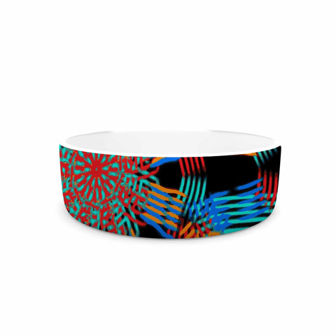 "Laura Nicholson ""Ribbon Ring"" Black Abstract Pet Bowl - KESS InHouse"