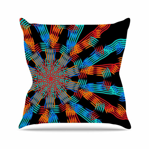 "Laura Nicholson ""Ribbon Ring"" Black Abstract Outdoor Throw Pillow - KESS InHouse  - 1"