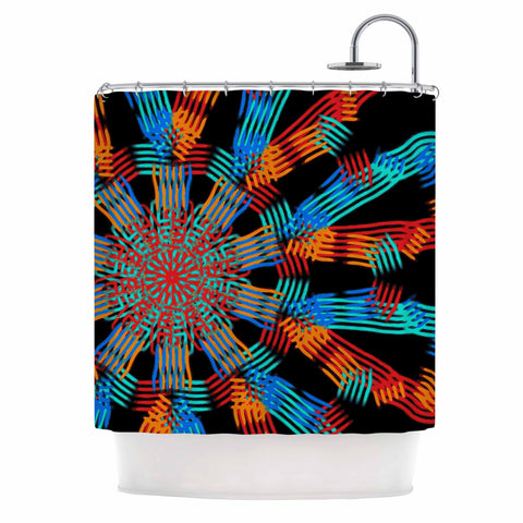 "Laura Nicholson ""Ribbon Ring"" Black Abstract Shower Curtain - KESS InHouse"