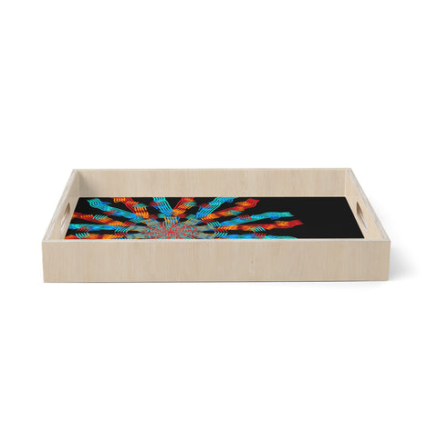 "Laura foster Nicholson ""Ribbon Ring"" Black Abstract Birchwood Tray"