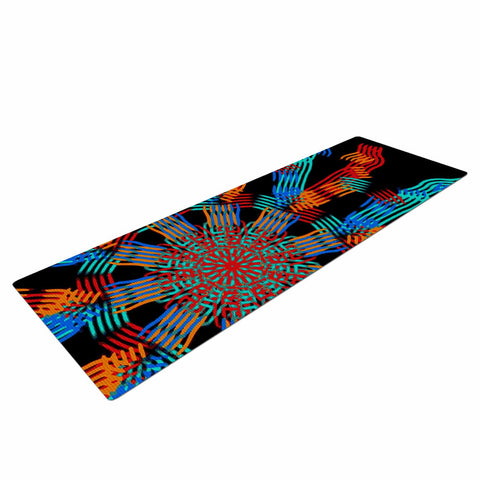 "Laura Nicholson ""Ribbon Ring"" Black Abstract Yoga Mat - KESS InHouse  - 1"