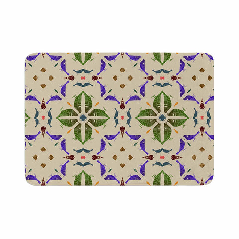 "Laura Nicholson ""Kissing Budgies"" Geometric Beige Memory Foam Bath Mat - KESS InHouse"