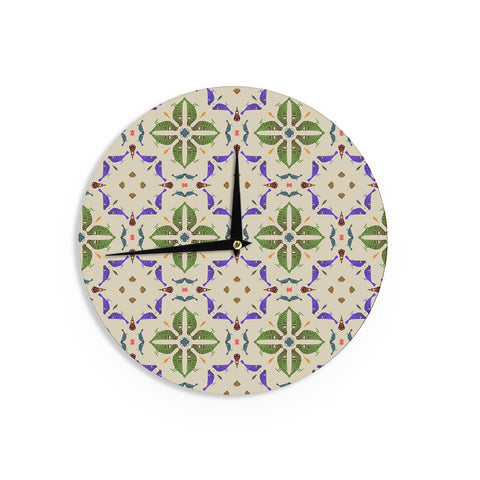 "Laura Nicholson ""Kissing Budgies"" Geometric Beige Wall Clock - KESS InHouse"