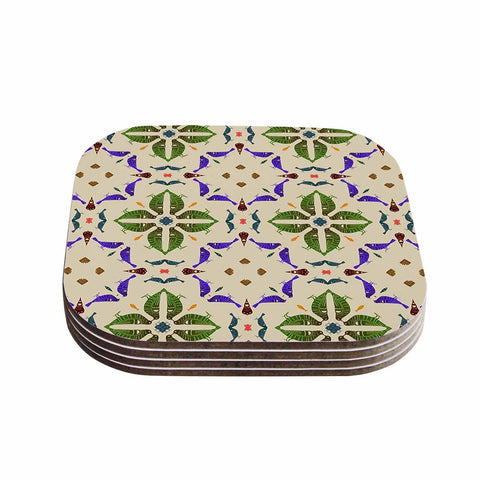 "Laura Nicholson ""Kissing Budgies"" Geometric Beige Coasters (Set of 4)"