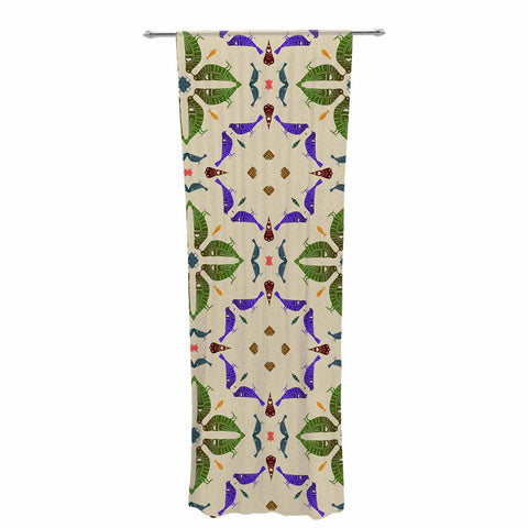 "Laura Nicholson ""Kissing Budgies"" Geometric Beige Decorative Sheer Curtain - KESS InHouse  - 1"