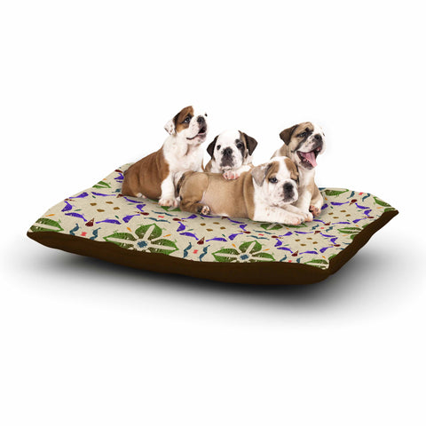 "Laura Nicholson ""Kissing Budgies"" Geometric Beige Dog Bed - KESS InHouse  - 1"