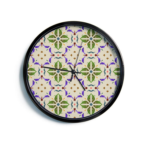"Laura Nicholson ""Kissing Budgies"" Geometric Beige Modern Wall Clock"