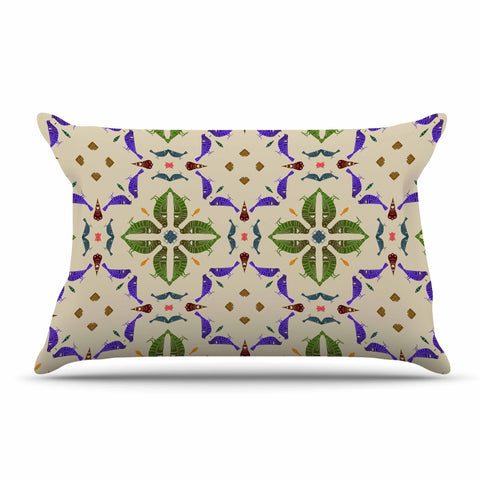 "Laura Nicholson ""Kissing Budgies"" Geometric Beige Pillow Sham - KESS InHouse  - 1"