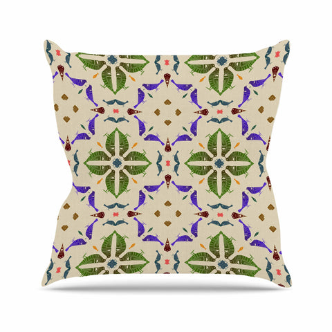 "Laura Nicholson ""Kissing Budgies"" Geometric Beige Outdoor Throw Pillow - KESS InHouse  - 1"