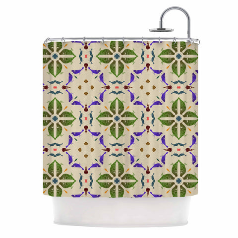 "Laura Nicholson ""Kissing Budgies"" Geometric Beige Shower Curtain - KESS InHouse"