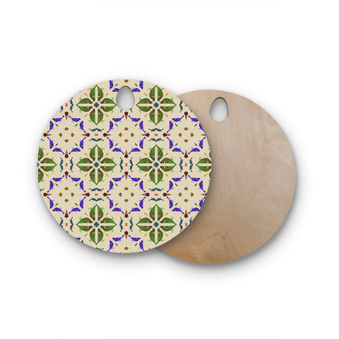 "Laura Nicholson ""Kissing Budgies"" Geometric Beige Round Wooden Cutting Board"