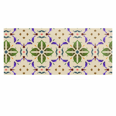 "Laura Nicholson ""Kissing Budgies"" Geometric Beige Luxe Rectangle Panel - KESS InHouse  - 1"