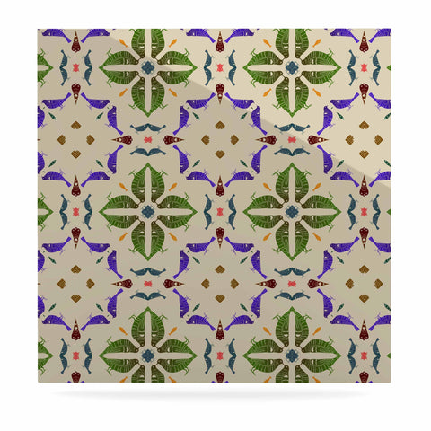 "Laura Nicholson ""Kissing Budgies"" Geometric Beige Luxe Square Panel - KESS InHouse  - 1"