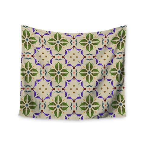 "Laura Nicholson ""Kissing Budgies"" Geometric Beige Wall Tapestry - KESS InHouse  - 1"