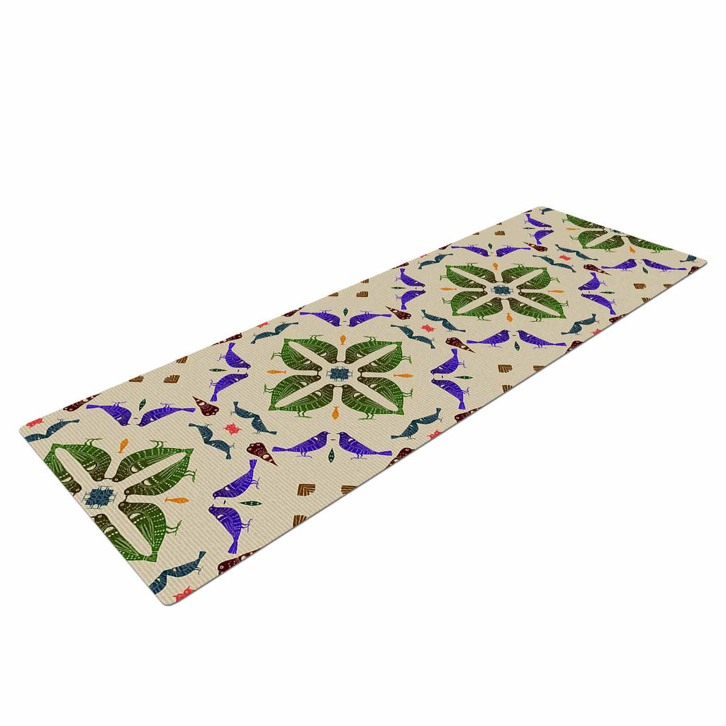 "Laura Nicholson ""Kissing Budgies"" Geometric Beige Yoga Mat - KESS InHouse  - 1"