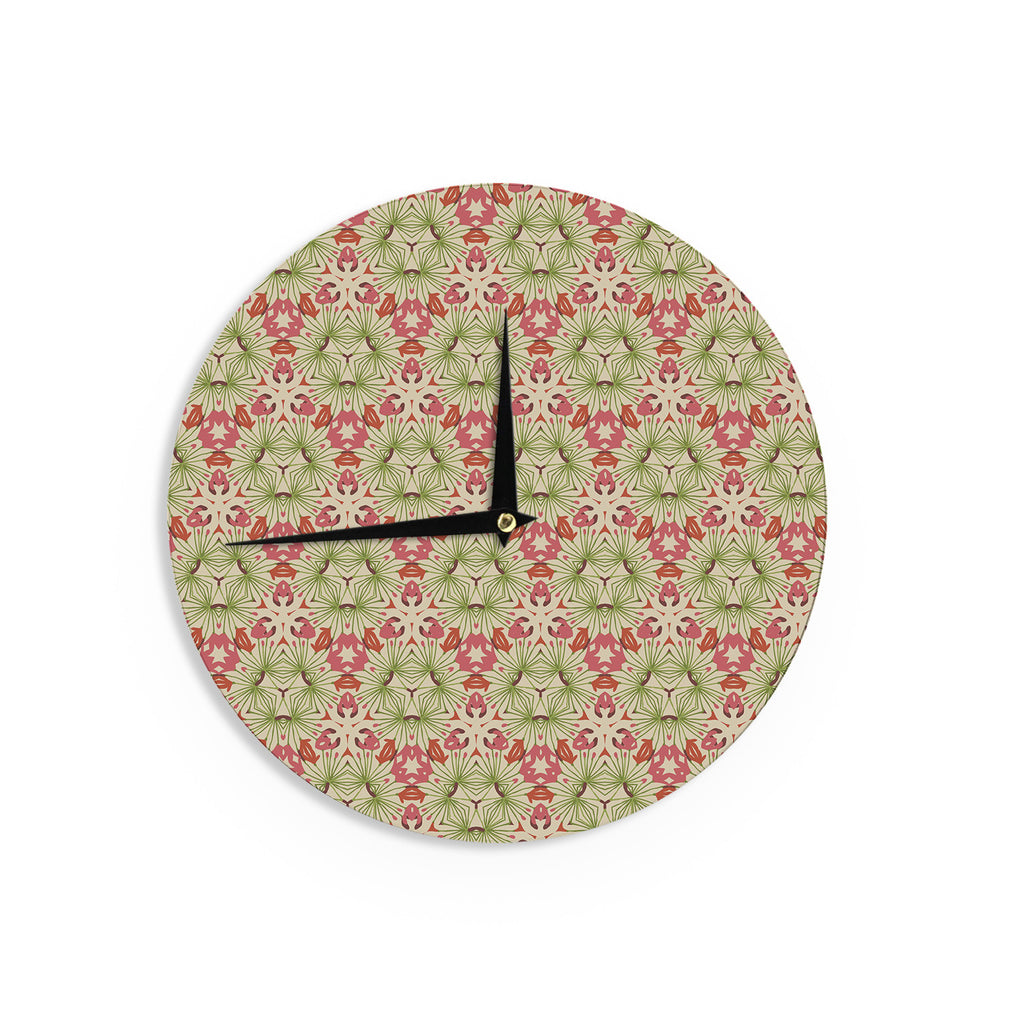"Laura Nicholson ""Thalia, Pink"" Floral Abstract Wall Clock - KESS InHouse"