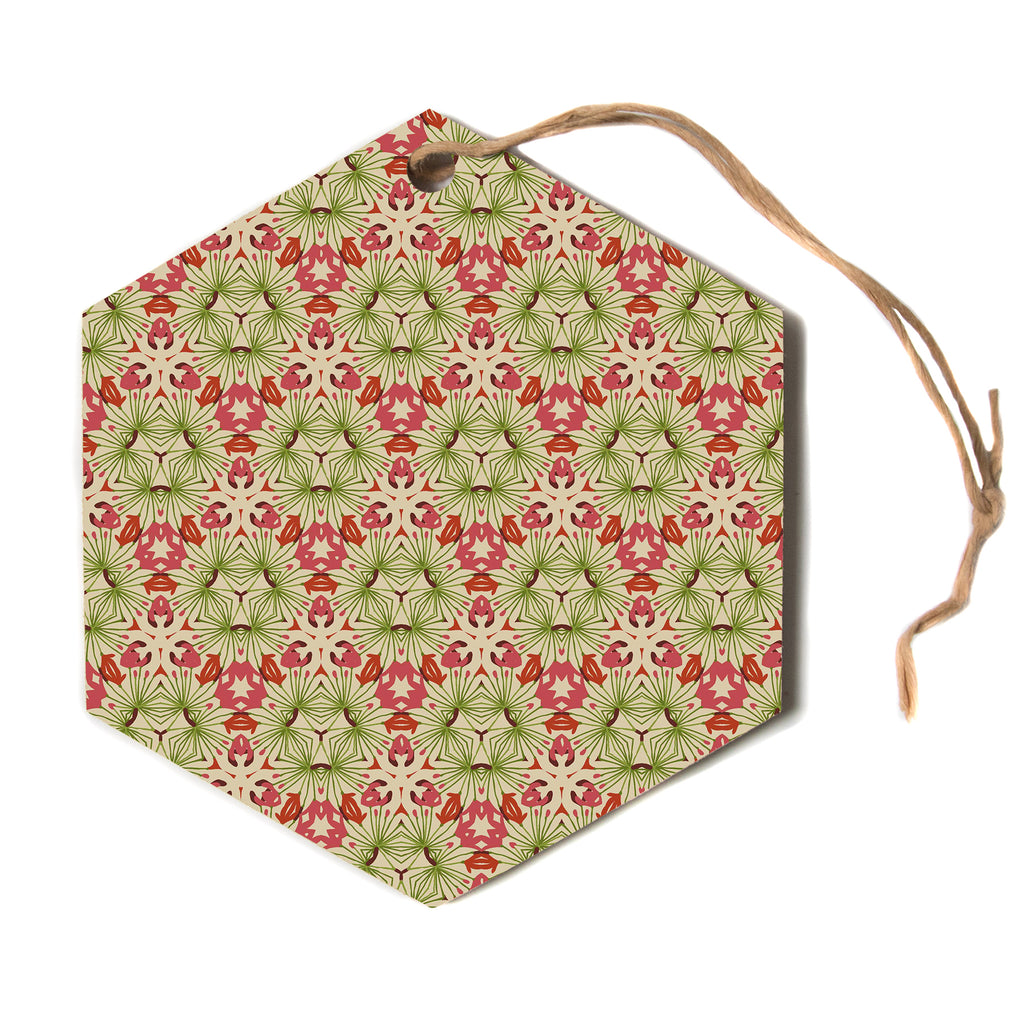 "Laura Nicholson ""Thalia, Pink"" Floral Abstract Hexagon Holiday Ornament"