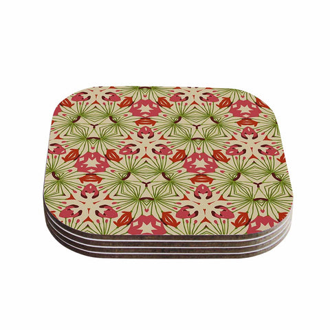 "Laura Nicholson ""Thalia, Pink"" Floral Abstract Coasters (Set of 4)"