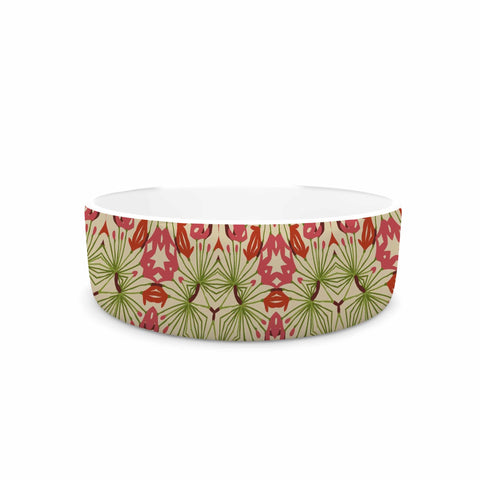 "Laura Nicholson ""Thalia, Pink"" Floral Abstract Pet Bowl - KESS InHouse"