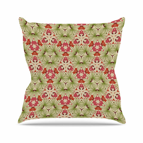 "Laura Nicholson ""Thalia, Pink"" Floral Abstract Outdoor Throw Pillow - KESS InHouse  - 1"