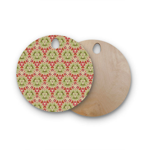 "Laura Nicholson ""Thalia, Pink"" Floral Abstract Round Wooden Cutting Board"