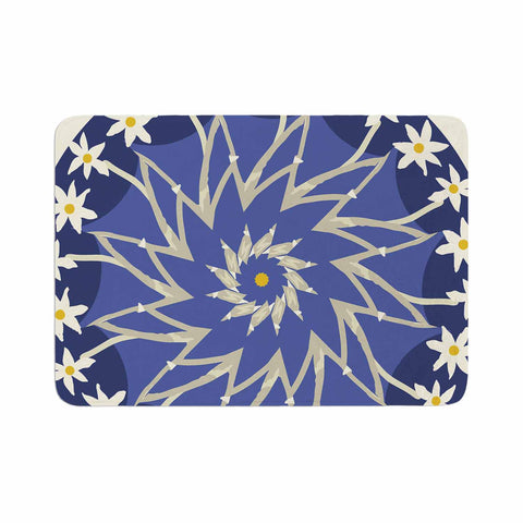 "Laura Nicholson ""Sawtooth Flower"" Blue Nature Memory Foam Bath Mat - KESS InHouse"