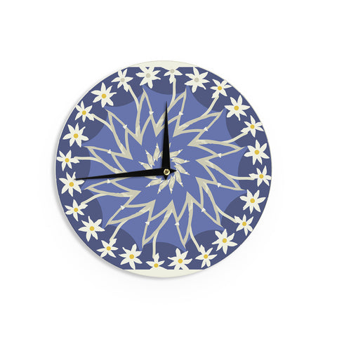 "Laura Nicholson ""Sawtooth Flower"" Blue Nature Wall Clock - KESS InHouse"