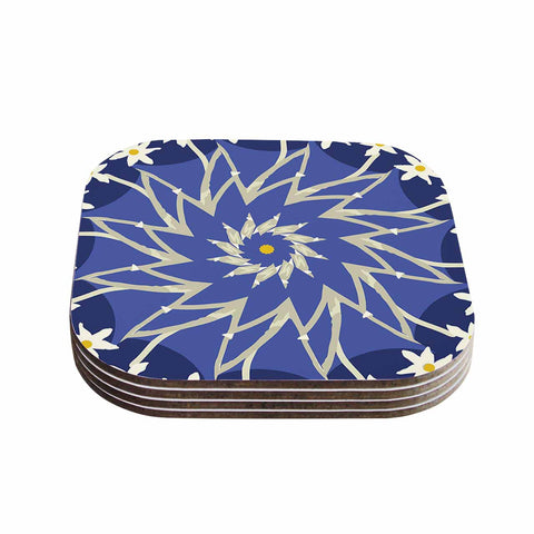 "Laura Nicholson ""Sawtooth Flower"" Blue Nature Coasters (Set of 4)"