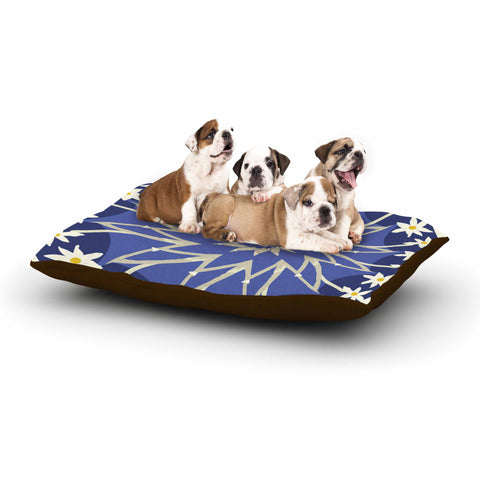 "Laura Nicholson ""Sawtooth Flower"" Blue Nature Dog Bed - KESS InHouse  - 1"