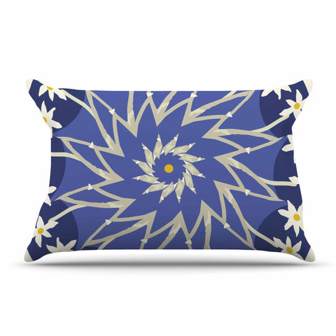 "Laura Nicholson ""Sawtooth Flower"" Blue Nature Pillow Sham - KESS InHouse  - 1"