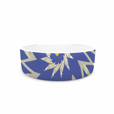 "Laura Nicholson ""Sawtooth Flower"" Blue Nature Pet Bowl - KESS InHouse"