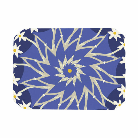 "Laura Nicholson ""Sawtooth Flower"" Blue Nature Place Mat - KESS InHouse"