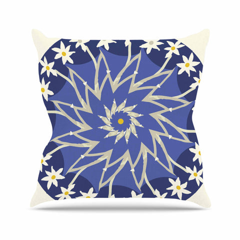 "Laura Nicholson ""Sawtooth Flower"" Blue Nature Outdoor Throw Pillow - KESS InHouse  - 1"