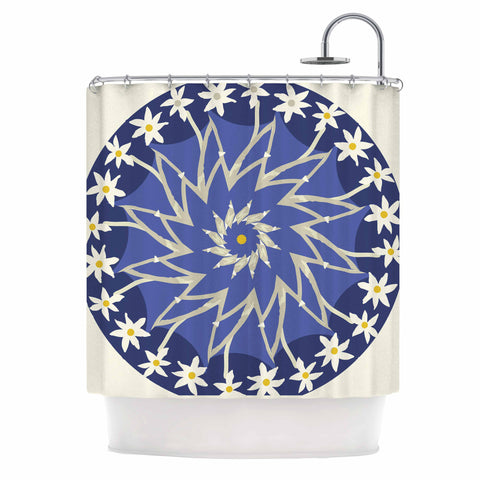 "Laura Nicholson ""Sawtooth Flower"" Blue Nature Shower Curtain - KESS InHouse"
