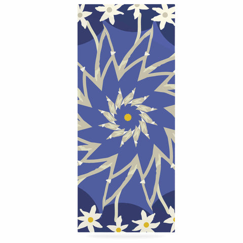 "Laura Nicholson ""Sawtooth Flower"" Blue Nature Luxe Rectangle Panel - KESS InHouse  - 1"